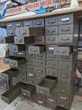 Vintage Lyon 18 Drawer Metal Tool Storage Cabinet Army Green Lot Of Four