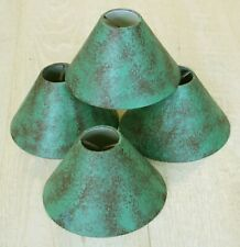 """Clip On Metal Shades Green Patina Color 2"""" x 6"""" x 4"""" - Set of 4"""