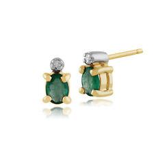 9ct Oro Giallo 0.33ct Ct Smeraldo e Diamante Classico Ovale Orecchini a Lobo