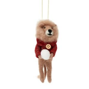 Sass and Belle Christmas Snowball Lion Felt Hanging Decoration