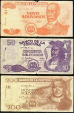 BOLIVIA 3 PROMOTIONAL NOTES IN LOT BANCO DE LA FORTUNA 20, 50 & 200 PESOS - RARE