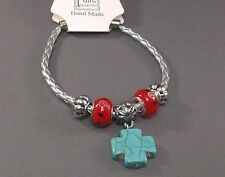 Christian Bracelet GLASS ART BEADS Turquoise Cross RED w BLACK & WHITE Gorgeous!