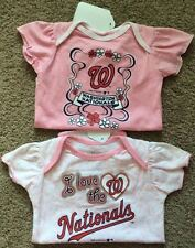 WASHINGTON NATIONALS GIRLS BODYSUIT LOT OF 2 DIFFERENT CUTE NEW SZ 6-9 MOS