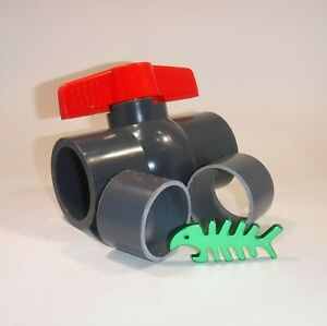 """Ball Valve PVCU 1.25"""", 1.5"""", 2"""" fits Pressure Pipe, Black pond and waste pipe"""
