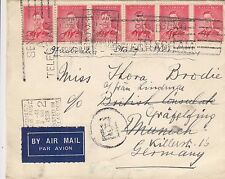Stamps 12 x 2d red KGV1 on uprated cover sent airmail Germany, Greek currency