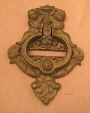 huge antique thick cast iron gold ornate cherub devil putti front door knocker