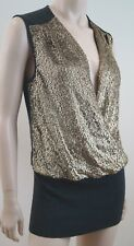 TORY BURCH Merino Wool Grey & Gold Sequin Long Length Evening Jumper Top Sz: M