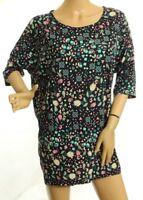 LulaRoe Irma Women's Top Floral Geometric Black And Green Hi Low Size L