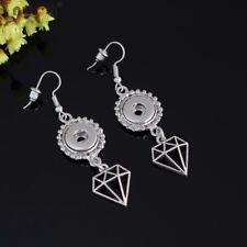 10pcs Metal Heart Key Charms Dangle Earrings Fit 12mm Snap Button Jewelry Es0247