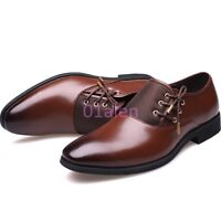 Men SIde Lace Vintage Dress Formal Oxford Pointed Toe Business New Shoes Leather