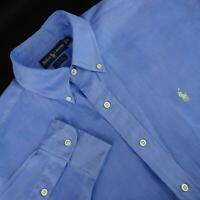 Mens Polo Ralph Lauren Blake Blue Oxford Golf Dress Shirt Size Medium 100% Linen