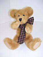 "Boyds 14"" Tall Brown Bear Plaid Bow Poseable Jointed Stuffed Teddy Bear"