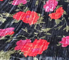 "SPANISH ROSE FLORAL PRINT BLACK CRUSHED VELVET DRAPERY FABRIC 45"" BY THE YARD"