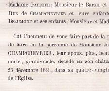 Jean Baptiste De La Rue De Champchevrier Grammont 1861