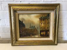 Vintage I Costello Signed Oil on Canvas Painting French Parisian Street Scene