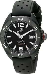 TAG HEUER FORMULA 1 41mm ALL BLACK RUBBER BAND AUTOMATIC WATCH WAZ2115.FT8023