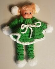 New listing Vintage Crocheted Doll Rubber Vinyl Face 70's