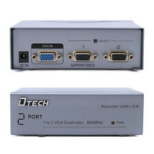 DTECH Powered 2 Port VGA Splitter Amplifier Box 1 PC video into 2 SVGA monitor