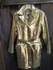 Womens GOLD Metallic Leather Trench Coat Belted B36