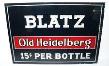 ANTIQUE REVERSE GLASS BEER SIGN BLATZ OLD HEIDELBERG 15c BOTTLE PROHIBITION LQQK