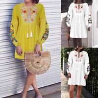 Womens Balloon Sleeve Floral Tunic Dress Bohemian Long Top Plus Size Shirt Dress
