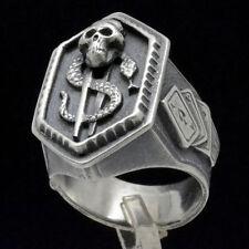 Biker Poker Skull Snake Dollar Sign Great Men Gift idea Sterling Silver Ring S13