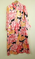 Vintage Silky Polyester 1/2 Zip Floral Dressing Gown Housedress Lounge Caftan XL