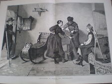 Grinding a Skate in Friezland by C Bischoff 1877 old print ref W3