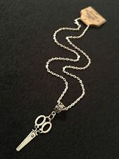 "Small Scissor Necklace Pendant Antique Victorian Hairdresser Artist 18""Chain *UK"
