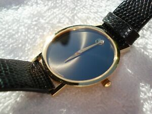 Mint MOVADO Museum Men's Black 30mm Dial Case Swiss Made Watch New Battery $1