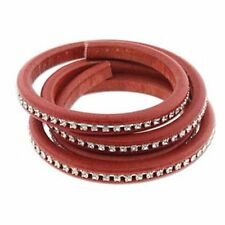 Licorice Leather Genuine Real Leather Cord 10 x 7mm with Crystals 25cm Red