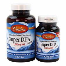 Carlson Labs Super DHA Gems 60+20 Soft Gels 80 Sgels FREE Shipping FRESH
