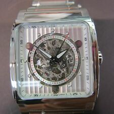 BULOVA MEN'S WATCH SKELETON AUTOMATIC ALL S/S ORIGINAL JAPAN 96A107 NEW