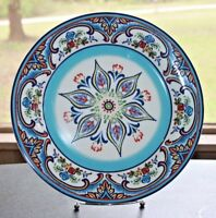 "Euro Ceramica ZANZIBAR 11"" Large Dinner Plate Stunning Red Blue Yellow Floral"
