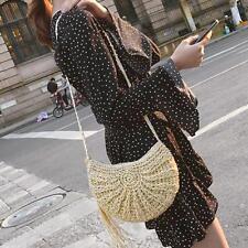 Summer Women Girl Crochet Straw Shoulder Bag Tassel Beach Messenger Handbag Tote