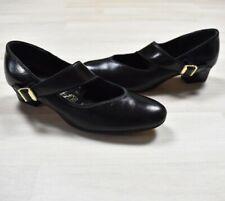 True Vintage 60s Tictactoes Mod Go-Go Swing Black Mary Janes Low Heel Shoe 7 Usa
