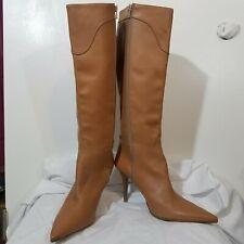 Vintage Charles David Leather Stiletto Boots Camel Boho Retro Zipper Italy Sz 10