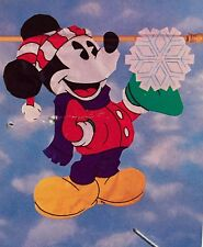 Disney Mickey Mouse Snowflake Christmas Windsculpt Applique Large Yard Flag New