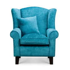 High Wing Back Armchair Teal Blue Chenille Fabric Chair Fireside Living Room UK