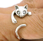 HANGING CAT CUTE LOVELY STERLING 925 SILVER RING Sz 9