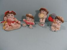 Vintage Cast Art Dreamsicle Angels Cherub Kristin Figurine Clay - Lot of 4 - Vgc