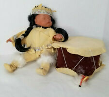 Goldenval Porcelain Native American Indian Sleeping Baby Doll With Drum 1/2000