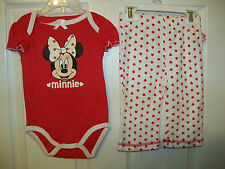 Disney Minnie Mouse 2 Piece One Piece Pants Set Baby Girls Size 0 / 3 Months NWT
