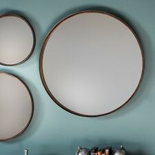"""Greystoke Set of 2 Round Bronze Overmantle Wall Metal Antique Style Mirrors 24"""""""
