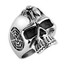 Rocker Biker Ring Totenkopf Skull Edelstahl Massiv Silber IP mit Spinne Gothic
