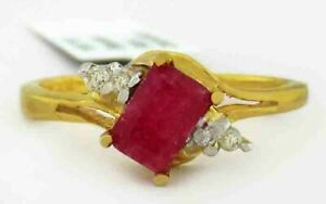 GENUINE 0.72 Cts RUBY & DIAMOND RING 10k YELLOW GOLD *Free Certificate Appraisal