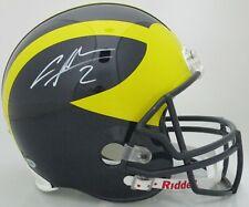 Michigan CHARLES WOODSON Signed Riddell Full Size Replica Helmet AUTO - Beckett