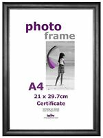 A4 Certificate Photo Picture Frame Black + Stand and Hanging Hook Acetate Fronts