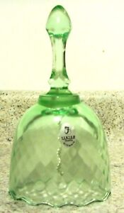 "Fenton Glass Willow Green ""Diamond Optic"" Pattern 6 1/2"" Bell, new in box"