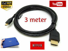"Premium 3M Micro HDMI to HDMI Cable Lead for Windows Connect 8"" Tablet to TV LCD"